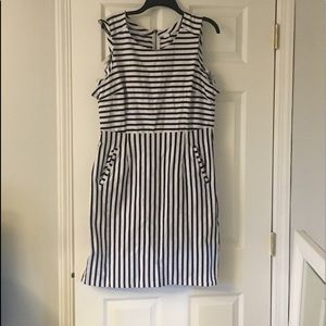 Blue and white striped cotton sheath dress